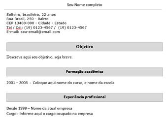 Exemplos e modelos de curriculo e curriculum vitae