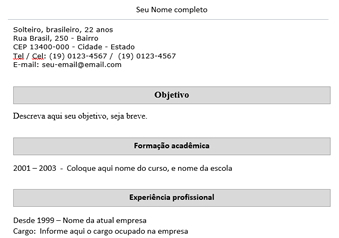 modelos de cv simples